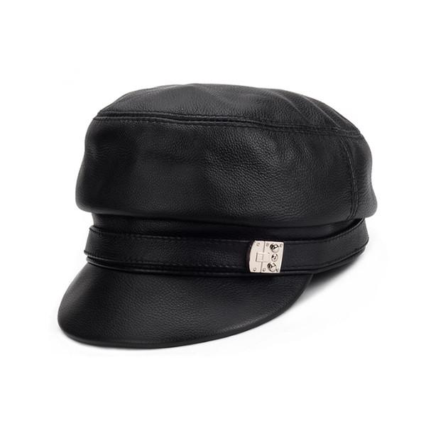 Новая натуральная кожа Короткие Брим плоские шляпы для женщин Real Корова кожа черный / желтый / Caps Красный Коричневый Монтажн бейсбольных