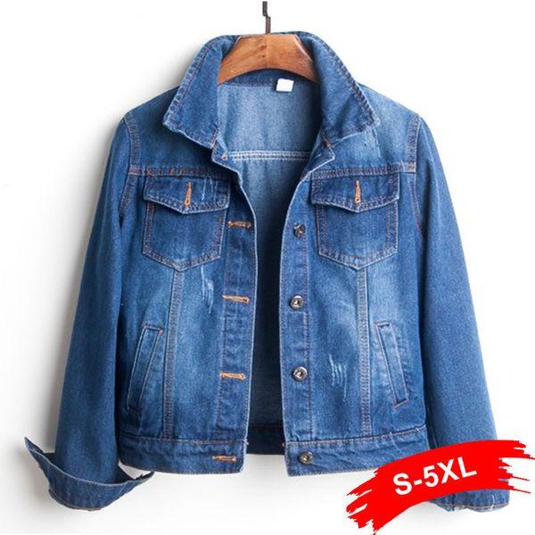 Plus Size Ripped Hole Cropped Jean Jacket 4xl 5xl Light Blue Bomber Short Denim Jackets Jaqueta Long Sleeve Casual Jeans Coat T419053003