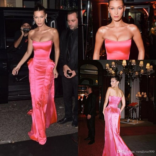 Hot Pink Strapless Formal Evening Dresses 2018 Bella Hadid Modest Ruffles Skirt Full length Red Carpet Dress Celebrity Prom Party Gown Wear