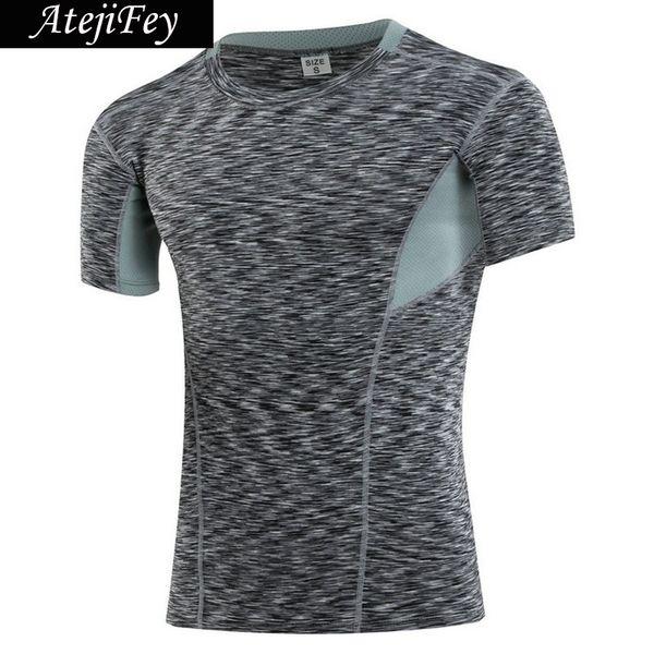 Quick Dry Elastic Tight Fitness Yoga T-Shirt Men Short Sleeve Basketball Soccer Running Sport Jerseys Compression Gym sportswear #282701