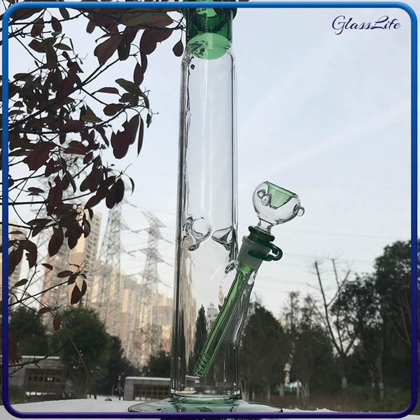 Glass Water Bongs Recycler Dab Rig 17inch Big Bong straight tube water bongs with Ice Catcher glass water pipe bubblers