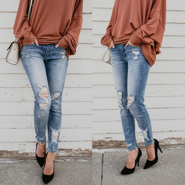 Jeans strappati a vita alta strappati jeans strappati jeans strappati denim di alta qualità per donna ragazza donna spedizione gratuita