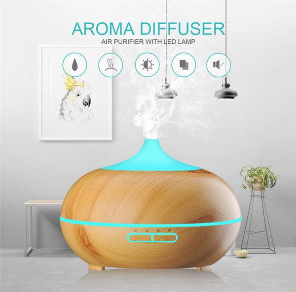 Aroma eléctrico Aceite Esencial Difusor Grano de madera USB Mini Humidificador Ultrasónico de Aromaterapia Fabricante de Niebla Para Oficina en casa 300 ml RRA841