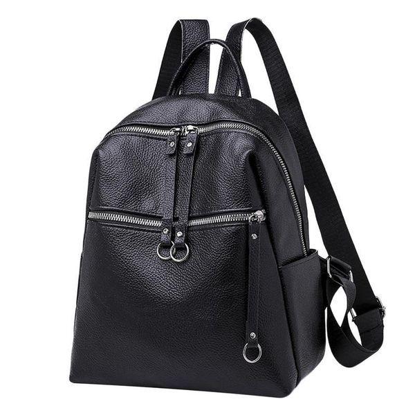 Backpack School Bag Korean Fashion Student College Style Samll For Women Girls Bags Soft Leather Waterproof Backpacks Rucksack