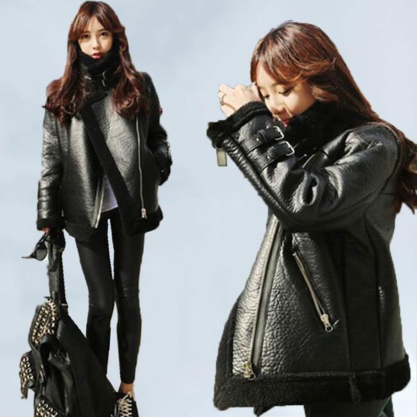 Más gruesa de terciopelo BF viento de invierno chaqueta corta de las mujeres 2019 de la chaqueta de la motocicleta de Corea del cuero de la PU un cordero de lana chaquetas Mujer 328