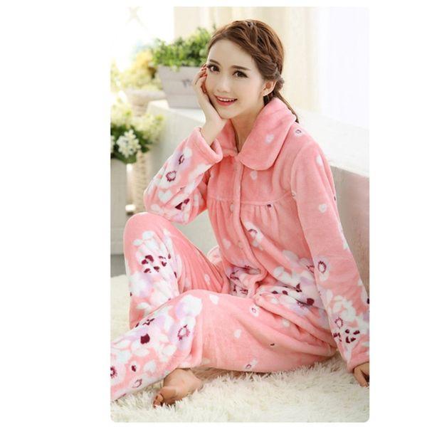 Two-piece suit warm pajamas for women Autumn Winter women's pajamas Flannel home clothes for women piss Tops + pants 869