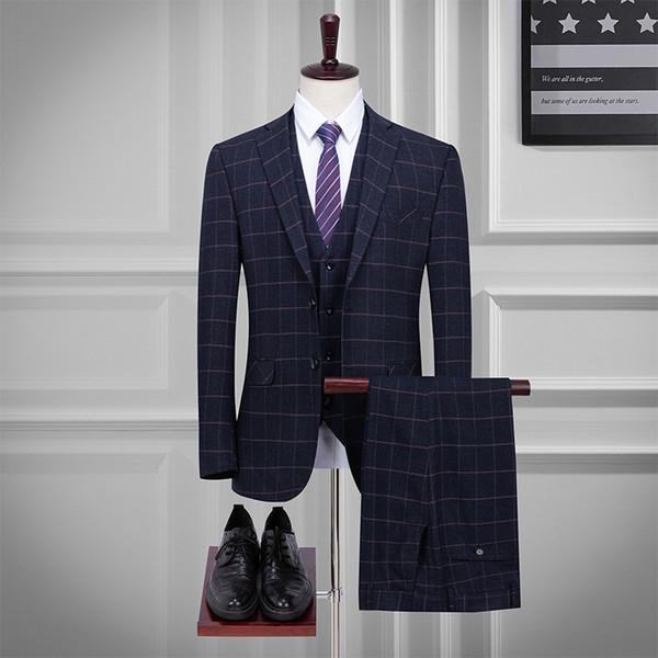 Abito da uomo primavera e autunno nuovo vestito di tre pezzi tuta plaid di alta qualità (giacca + pantaloni + gilet) abiti casual da uomo