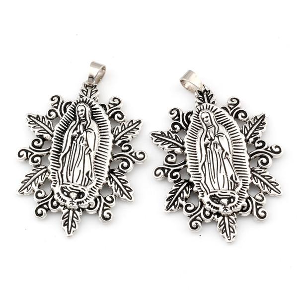 Kutsal Skapular Madalyası Dini Alaşım Charm Kolye Fit kolye DIY Aksesuarları 37x54.8mm 30pcs / sürü Antik gümüş A-482a Our Lady