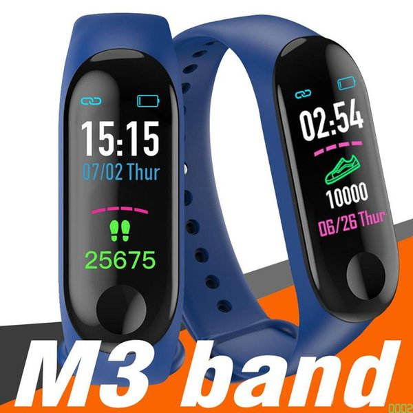 M3 Smart Bracelet Fitness Tracker with Heart Rate Watches for MI3 Fitbit XIAOMI APPLE Watch Colorful LCD Display with Retail Box 0002