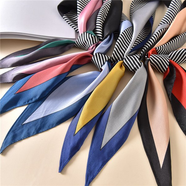 Seda bufanda sensación mujeres 2019 primavera nueva impresión pequeña pequeña bufanda a rayas triángulo largo cabeza bolsa bufandas decorativas