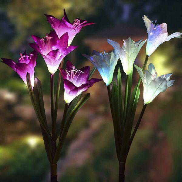 2pcs / lot tuinverlic à énergie solaire LED Couleur changeante Lily Fleurs Jardin Lumière Décorations Étanche Cour Patio Stake Lawn Lamp