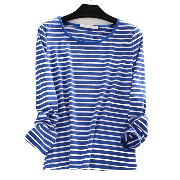 Women's Plus Size Oversized 3xl 4xl 5xl 6xl Cotton Long Sleeve Striped T-shirts T Shirt Women Casual Loose O Neck Tshirt New 40 J190513
