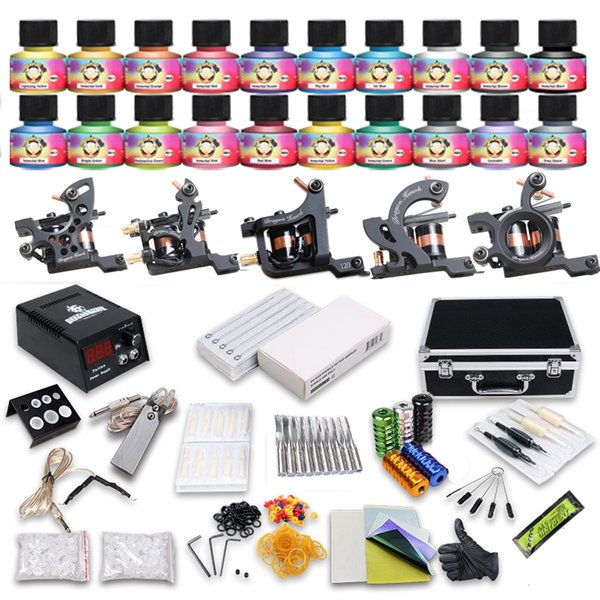 Professional Tattoo Kit coils Machine Liner Shader Guns Power Supply Immortal Inks Disposable Needles Tips Tattoo Set with Carry Case