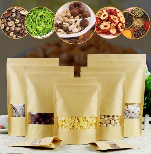 14 Size Brown Kraft Paper Plastic Bags Food Moisture-proof Bag Zip Lock with Clear Window for Dried Food Nuts Candy Packaging Pouch