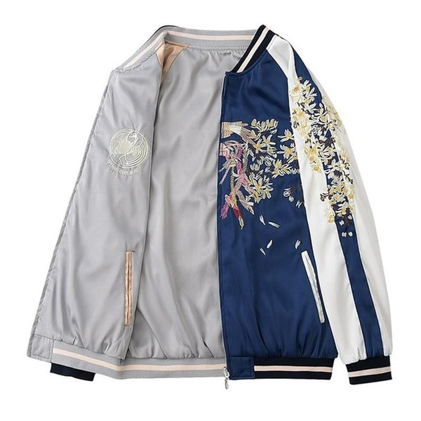 Harajuku jacket women Bomber jacket Loose BF Style Coat Baseball Outwear Floral Embroidery Windbreaker Mori girl Korean clothes