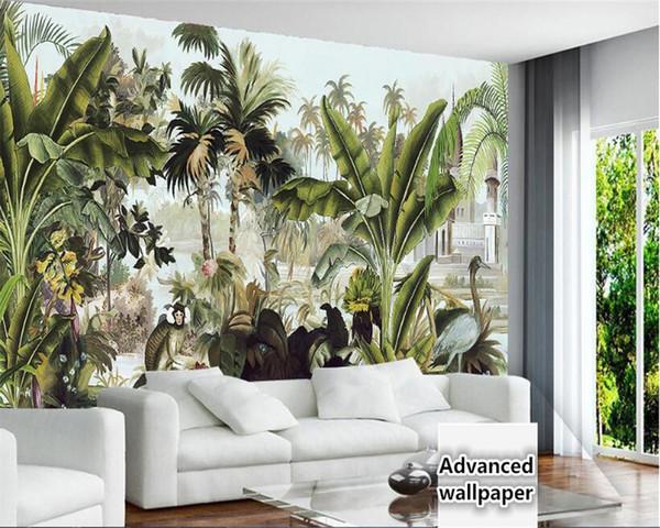 Carta da parati tridimensionale del fondo 3d della pittura a olio tropicale della pianta della foresta pluviale verde del cocco della carta da parati dell'interno