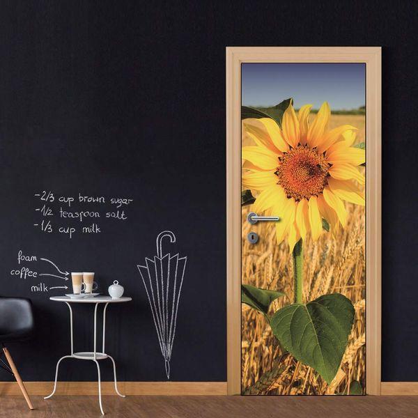 Wholesales DIY Door Mural Golden Sunflower Door Decal for Bedroom Living Room wallpapers Decal Sticker home accessories
