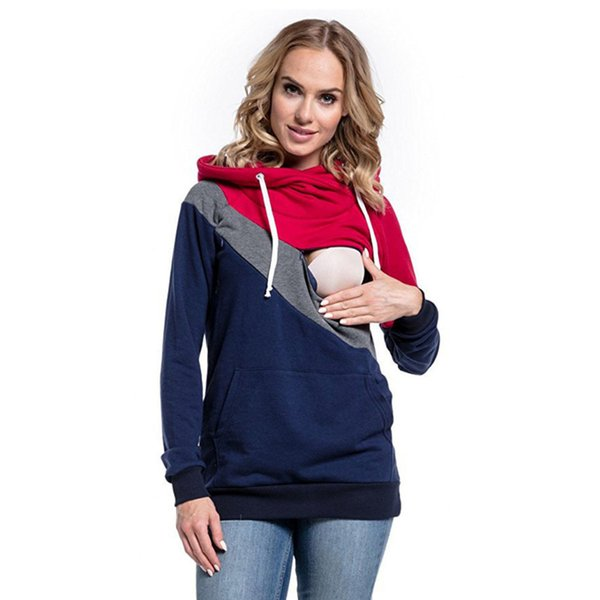 Pregnant Women Hip Length Pullver Top Comfortable Long Sleeve Tri-color Stitching Breastfeeding Hoodie Nursing Blouse All-