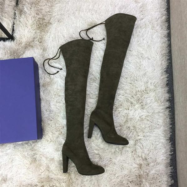 2019 chaussures de marque hiver Nouveau luxe décontracté Bottes cuissardes Les Chaussures femmes Bottes de 35 à 42 verges talon 9cm mince armée verte
