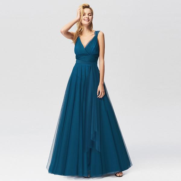 EM ESTOQUE 2019 Nova chegada sempre bonito da mulher plus size US4-US26 cor pura simples bridalmaid vestidos para vestidos de casamento das mulheres do partido