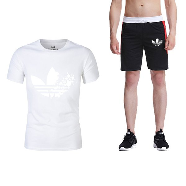 Summer Brand logo New Mens Joggers Casual Shorts+T Shirts 2 piece set Gyms Track Shorts Fashion Male sweatshirt Men Clothing