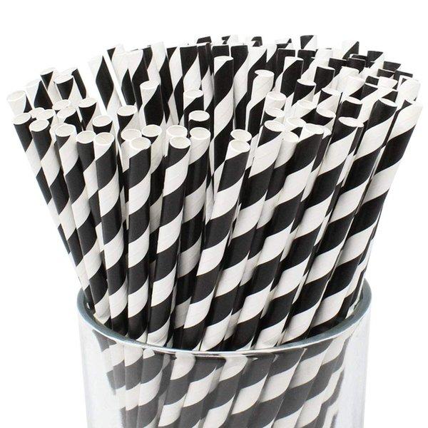 2000 Parça 6 * 197mm siyah şerit kağıt payet içecekler için Çevre Dostu gübrelenebilir Biyobozunur Doğum Günü Düğün Olay parti dekorasyo ...