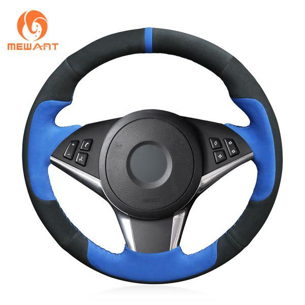 MEWANT Black Blue Suede Hand Sewn Car Steering Wheel Cover for BMW E60 530d 545i 550i E61 Touring 2005-2009 E63 E64 630i 645Ci 650i