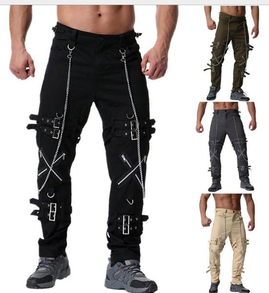¡Caliente! Pantalones nuevos para hombre Estilo europeo y americano Personalidad Cremallera Decoración Pantalones casuales de gran tamaño sueltos