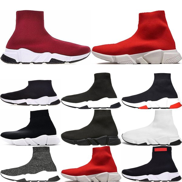 2019 Marca Speed ​​Runner Luxury Sock Shoes Designer Shoes Triple Black White Oreo Red Flat Trainer Hombres Mujeres Zapatos US5-US11