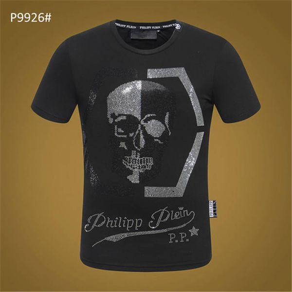 Esqueleto masculino loja de noite na Europa e América Fashion Drilling moda flor juventude t-shirt com gola redonda e manga curta