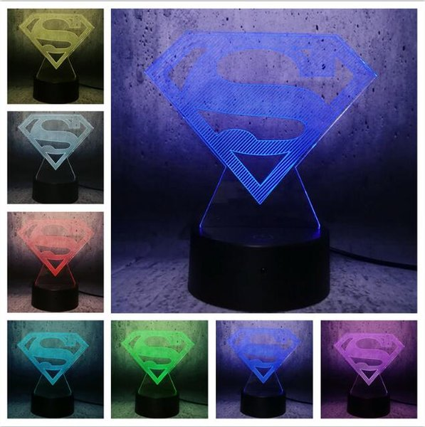 Creative Avengers Superman DC Logo Symbol Justice League Dimming Gradient  Luminaria Bedroom Decor Fan Child Man Boys Xmas Kids Gifts Comedy Gifts For  ...