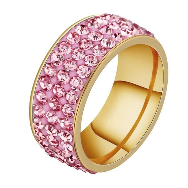 Wedding Ring Women Silver Stainless Steel 3Row Crystal Cubic Zirconia