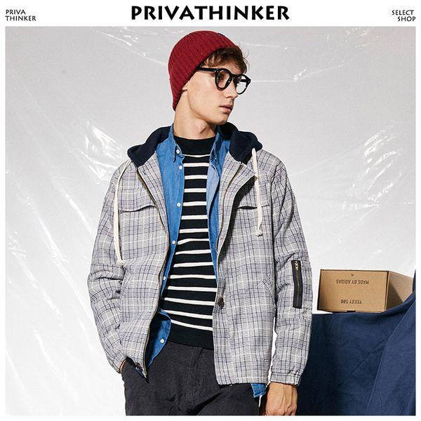 Giubbotto bomber scozzese patchwork uomo 2018 Harajuku giacche a vento con cappuccio Giacche e cappotti Maschile moda mode coreano