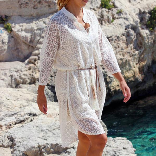 2019 Summer Women Lace Hollow Out Bikini Cover Up Solid Pullover Swimsuit Beach Dress Kaftan Beach Capes Swimsuit Beachwear Cape