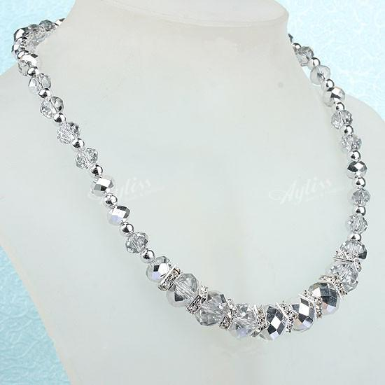 "Fashion Handmade Silver Crystal Glass Faceted Beads Necklace With Magnetic Clasp one piece 19"" 206"