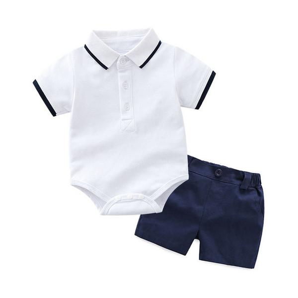 Conjunto de ropa de mameluco de bebé recién nacido de algodón de verano para bebé recién nacido 0 1 2 3 años Mono Sólido T-shirt Overoles + Shorts trajes de ropa