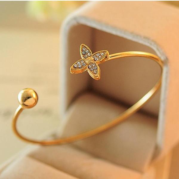 Bracelets Bracelets Strass Trèfle Bracelet 18K Véritable Plaqué Or Fine Bijoux Nickel Sans Plomb De Mode Indiens Bracelets