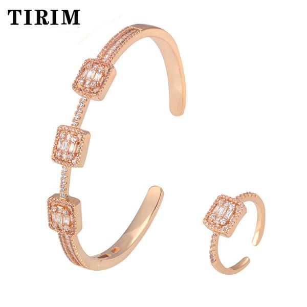 TIRIM Primavera na moda de luxo Declaração empilhável Bangle para mulheres casamento completa Cubic Zircon Cristal CZ Dubai Bracelet Silver Ring