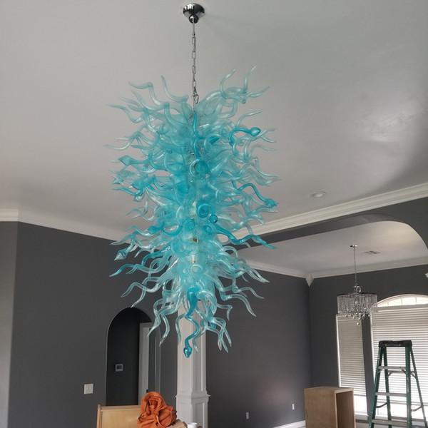 Nueva Llegada Araña de Cristal Azul Estilo Americano Araña 100% Boca Soplada Borosilicate Glass Chihuly Chandelier para la Decoración Casera