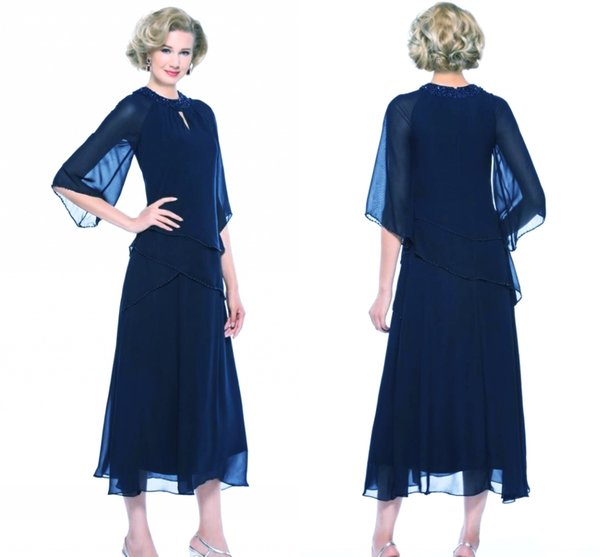 Sexy Dark Navy Chiffon Mother Of The Bride Dresses Plus Size Beaded Tea Length Formal Evening Gowns Wedding Guest Mother Dresses