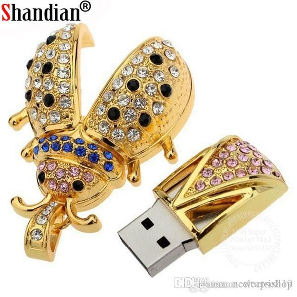 shopitem High quality Crystal Beetle shape usb flash drive 64GB pen drive 32GB 16GB 8GB 4GB u disk pendrive u disk memory flash drive