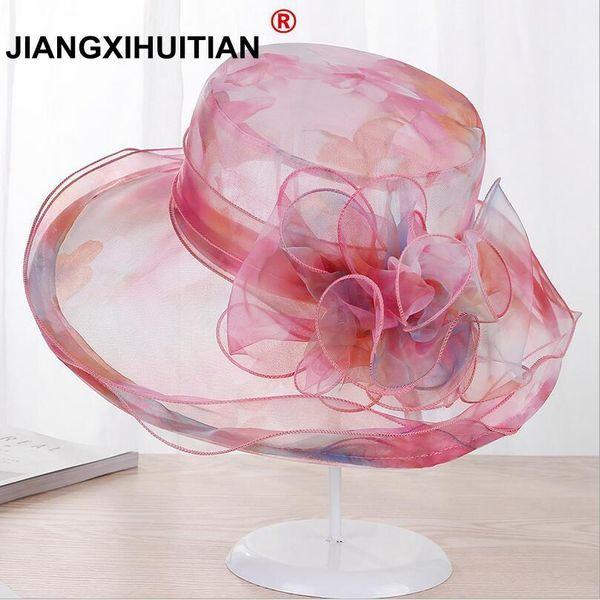 5 Colors Fashion Summer Organza Sun Hats For Women Elegant Laides Church Vintage Hat Wide Large Brim With Big Flower
