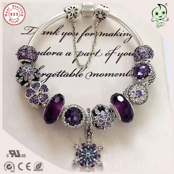 Best Quality Luxuxious And Nice Silver Jewelry Gift Noble Purple Silver Charm Series 925 Real Silver Snowflake Charms Bracelet C19021501