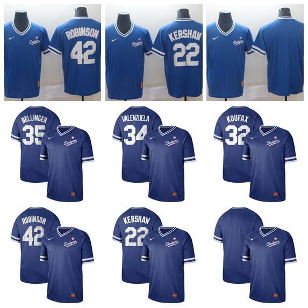 2019 Men Women Youth Dodgers 42 Robinson 22 Kershaw 35 Bellinger 34 Valenzuela 32 Koufax Bule Retro Cooperstown Batting Practice Baseball Je