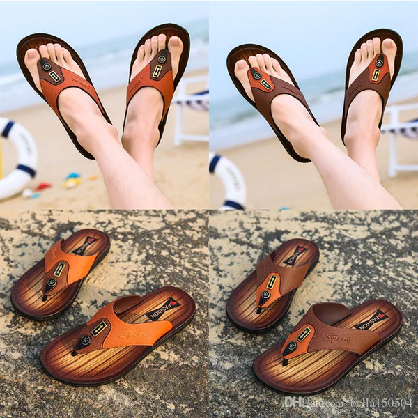 top quality designer sandals Leather flip-flops causal Non-slip summer huaraches slippers flip flops summer outdoor Hawaiian beach slippers