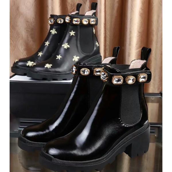 2019 высокое качество женщины кожаные туфли зашнуровать ленты пряжка ботильоны фабрика прямой женский грубый каблук с круглой головкой осень Martin Boots