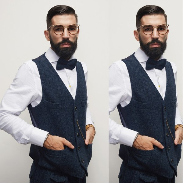 Hot Sale Blue Groom Vests 2019 Formal Men's Waistcoat Fashion Casual Slim Fit Spliced Back Chains Wedding Vest
