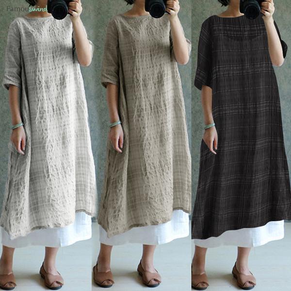 Vintage Keten Elbise 2019 Yaz Bayan Casual Kontrol Ekose Gömlek Artı boyutu Elbise Yarım Midi Gevşek Kol vestidos Tasarımcı Giyim