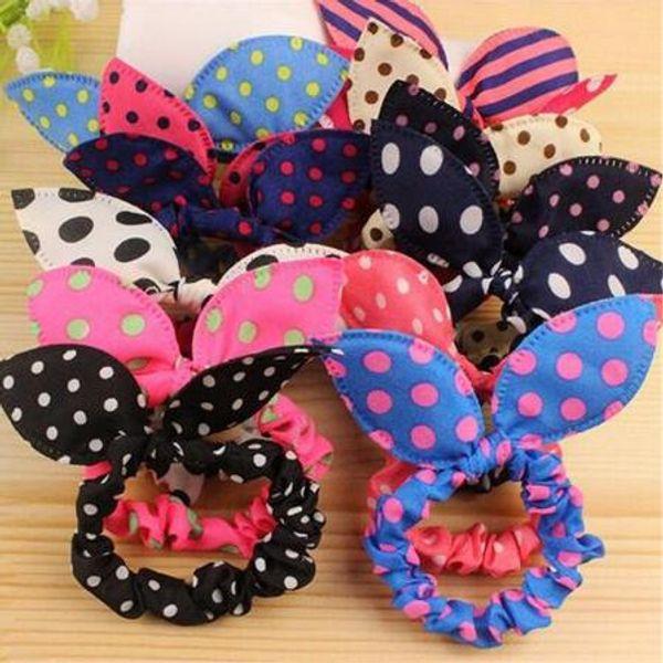 Mode elastische Haarbänder Kaninchenohren Haargummi Stirnband Mädchen niedlichen Häschen Haarschmuck Stoff Tupfen Headwear Haargummis