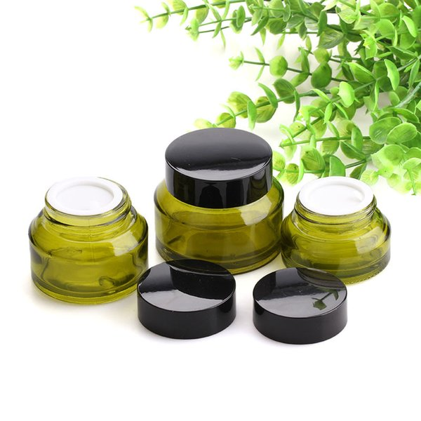 Upscale Green Cosmetic Storage Container Jar Face Cream Lip Balm Glass Bottles Emulsion Pot with Lid and Inner Pad